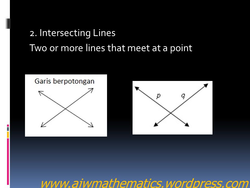 2. Intersecting Lines Two or more lines that meet at a point