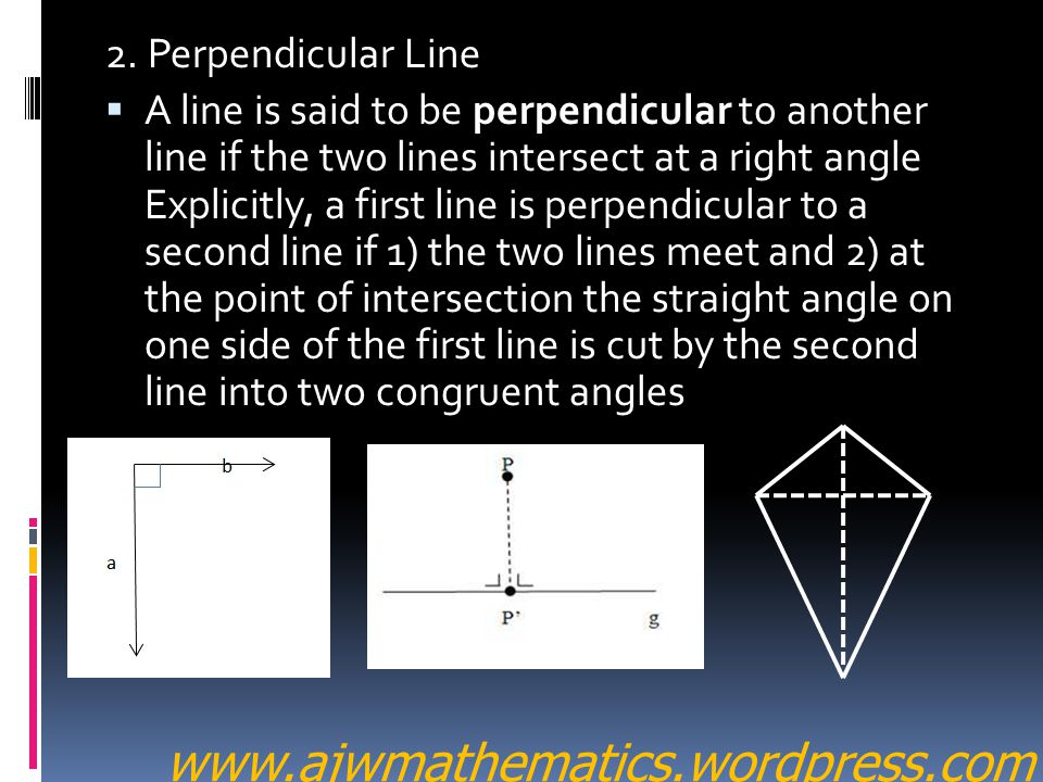 www.ajwmathematics.wordpress.com 2. Perpendicular Line