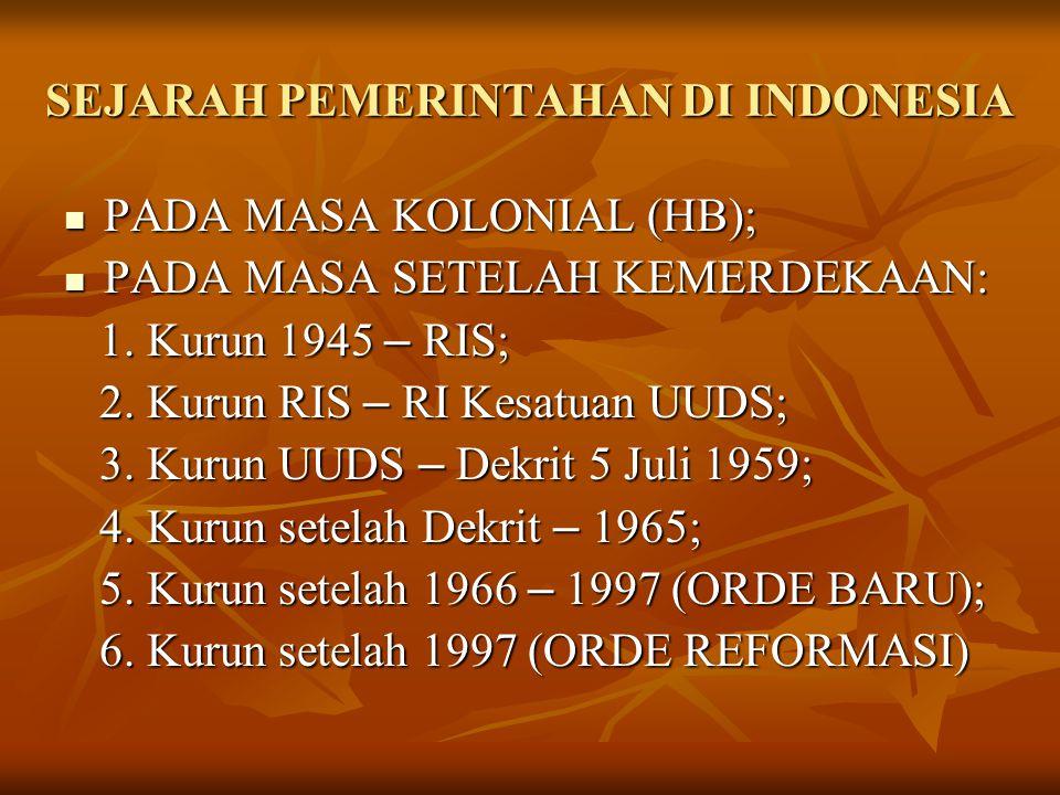 SEJARAH PEMERINTAHAN DI INDONESIA