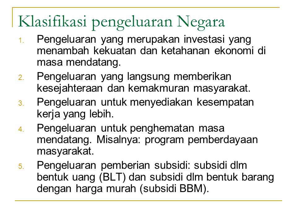 Klasifikasi pengeluaran Negara
