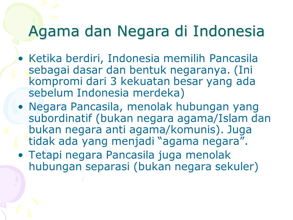 Agama dan Negara di Indonesia