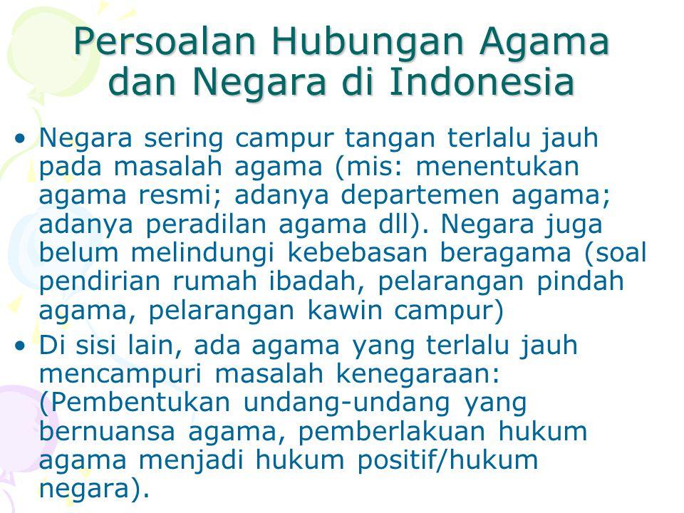 Persoalan Hubungan Agama dan Negara di Indonesia