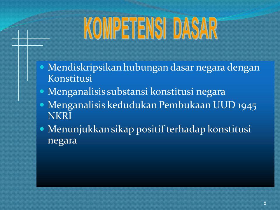 KOMPETENSI DASAR Mendiskripsikan hubungan dasar negara dengan Konstitusi. Menganalisis substansi konstitusi negara.