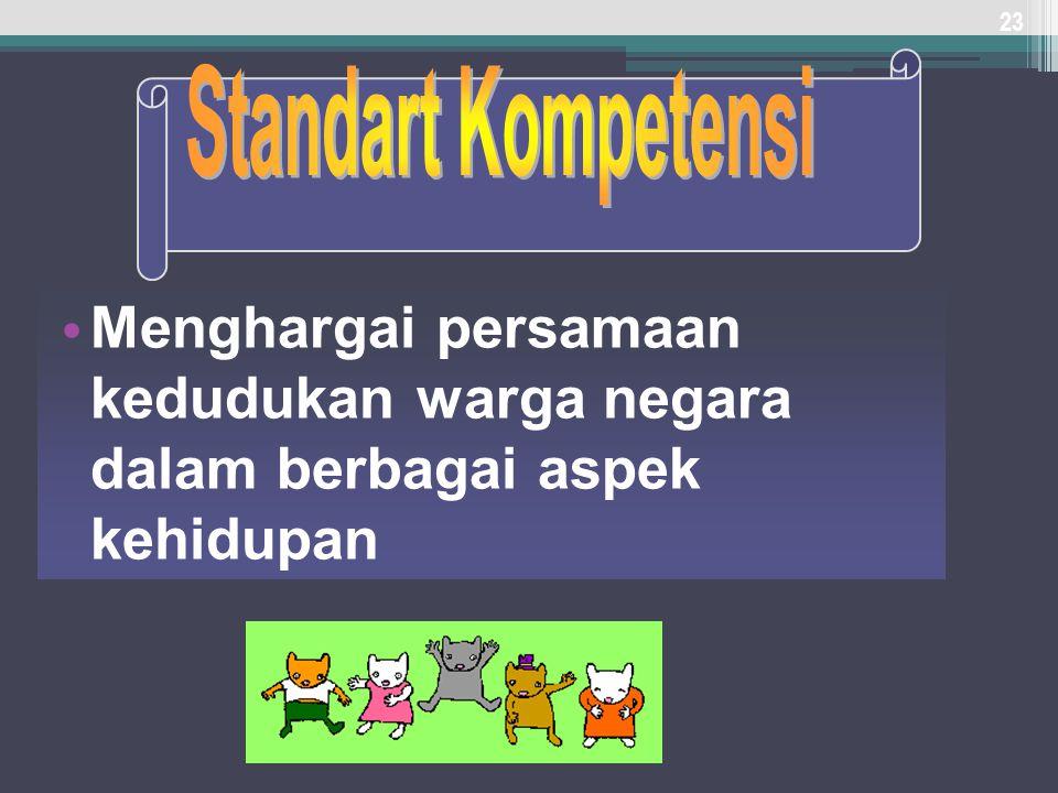 Standart Kompetensi Menghargai persamaan kedudukan warga negara dalam berbagai aspek kehidupan