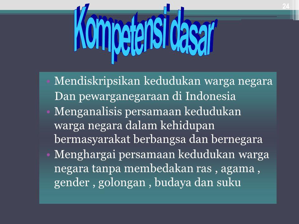 Kompetensi dasar Mendiskripsikan kedudukan warga negara