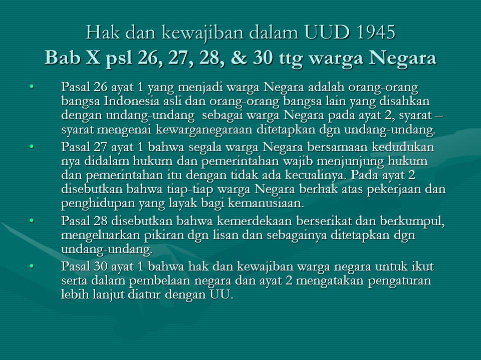 Hak dan kewajiban dalam UUD 1945 Bab X psl 26, 27, 28, & 30 ttg warga Negara