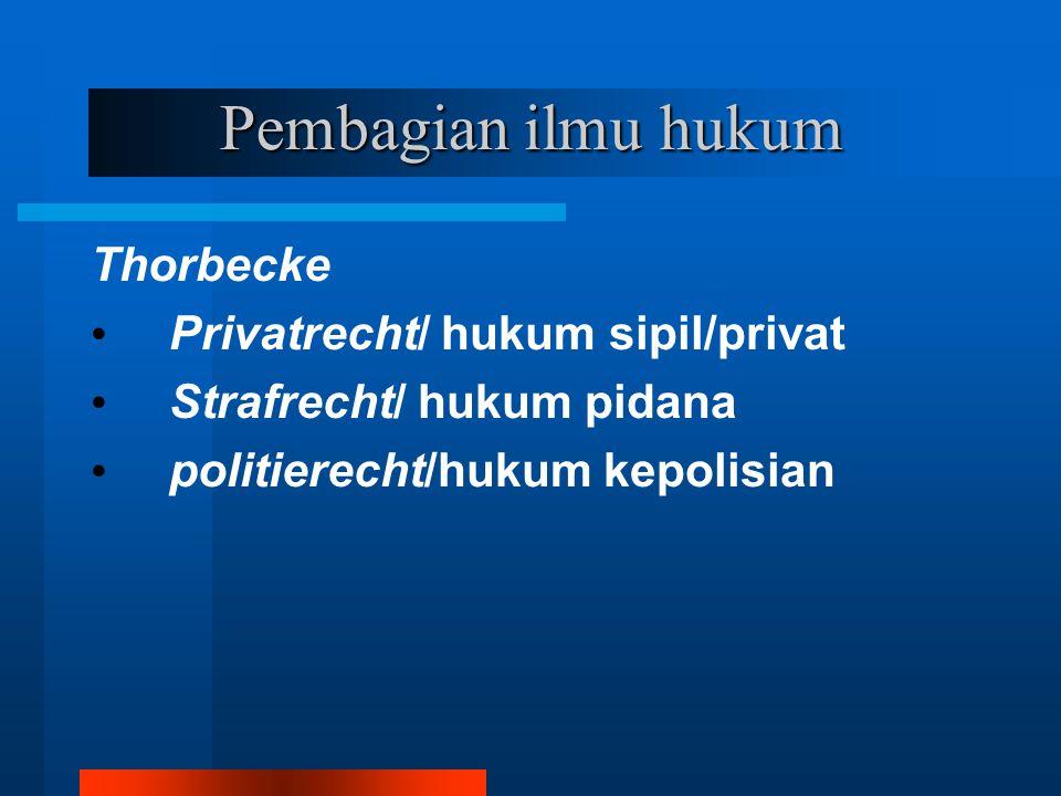 Pembagian ilmu hukum Thorbecke Privatrecht/ hukum sipil/privat