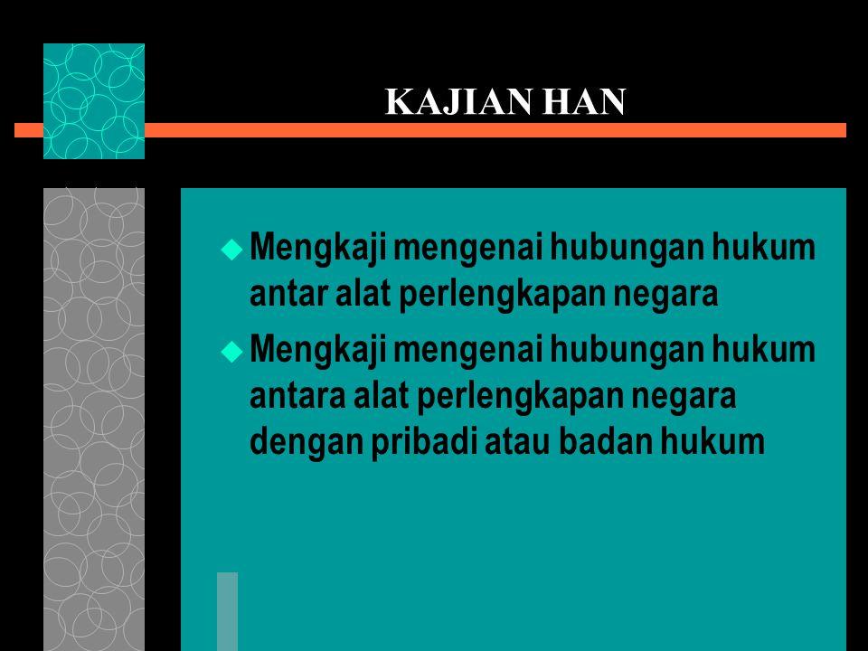 KAJIAN HAN Mengkaji mengenai hubungan hukum antar alat perlengkapan negara.