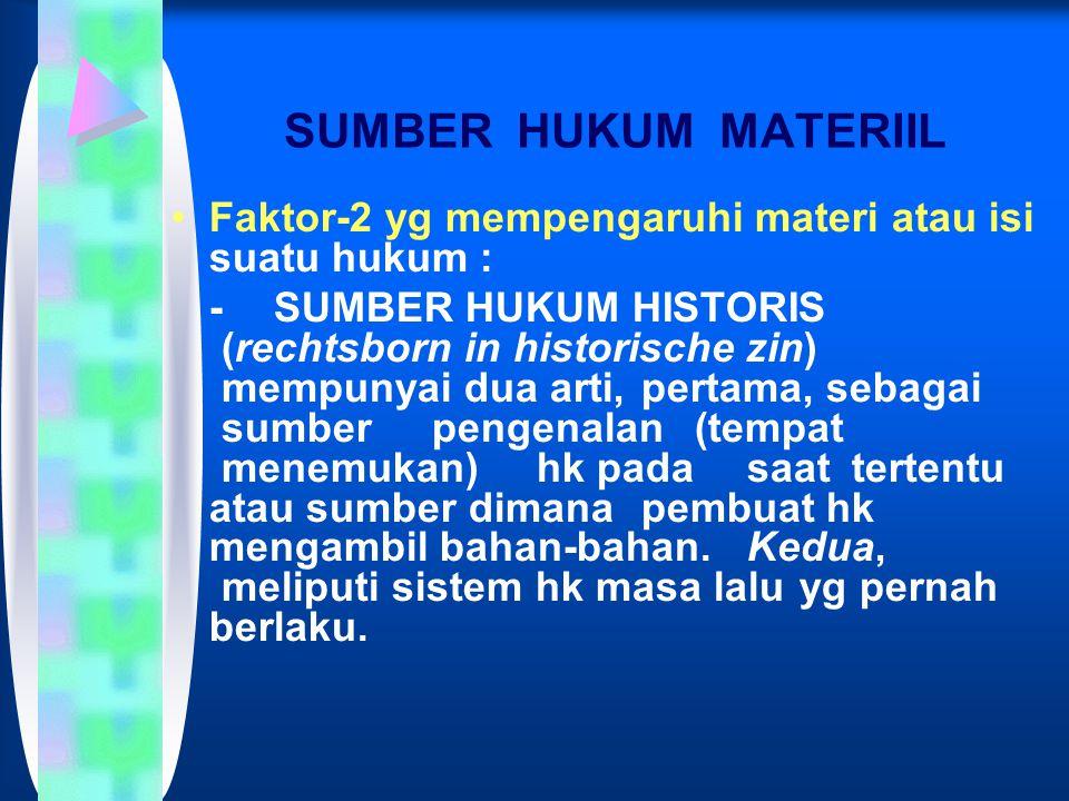 SUMBER HUKUM MATERIIL Faktor-2 yg mempengaruhi materi atau isi suatu hukum :