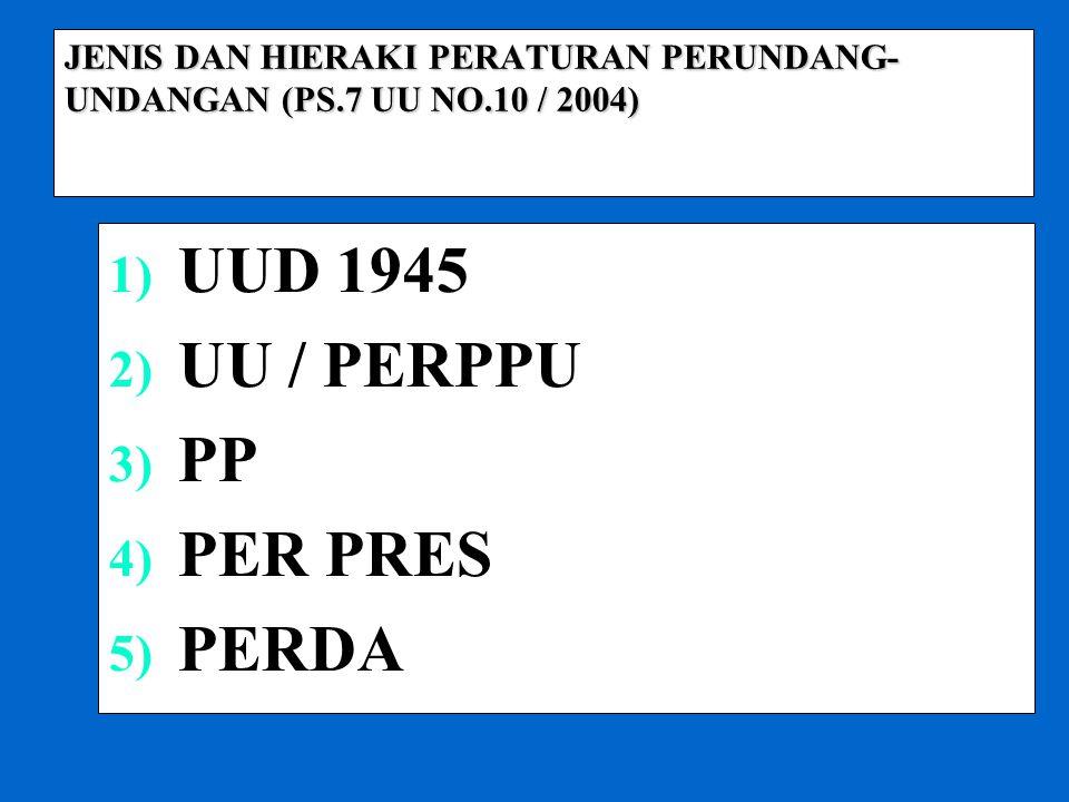 JENIS DAN HIERAKI PERATURAN PERUNDANG-UNDANGAN (PS.7 UU NO.10 / 2004)