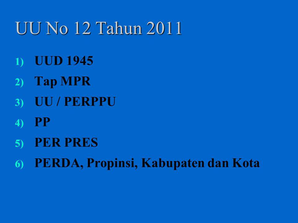 UU No 12 Tahun 2011 UUD 1945 Tap MPR UU / PERPPU PP PER PRES