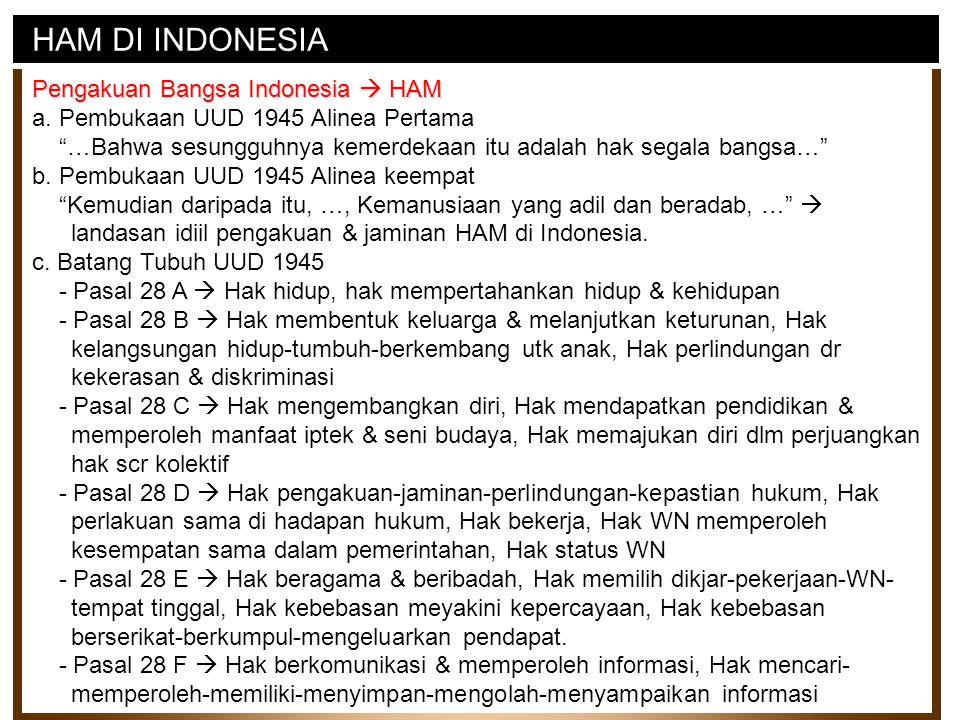 HAM DI INDONESIA Pengakuan Bangsa Indonesia  HAM