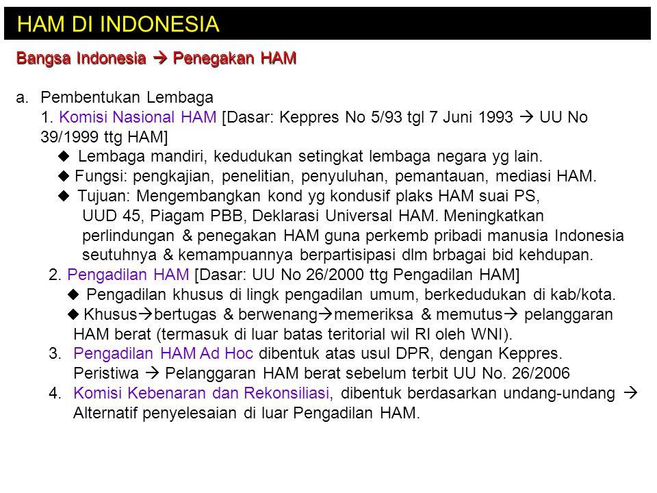 HAM DI INDONESIA Bangsa Indonesia  Penegakan HAM