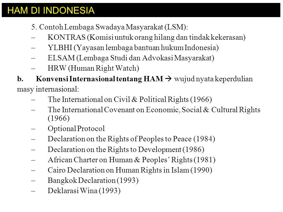 HAM DI INDONESIA 5. Contoh Lembaga Swadaya Masyarakat (LSM):