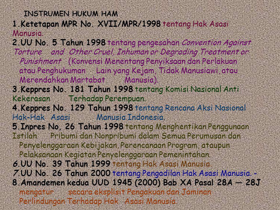 1.Ketetapan MPR No. XVII/MPR/1998 tentang Hak Asasi Manusia.