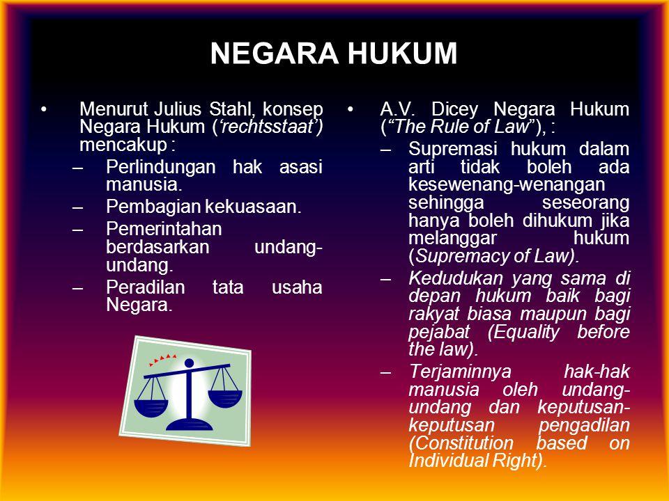 NEGARA HUKUM Menurut Julius Stahl, konsep Negara Hukum ('rechtsstaat') mencakup : Perlindungan hak asasi manusia.