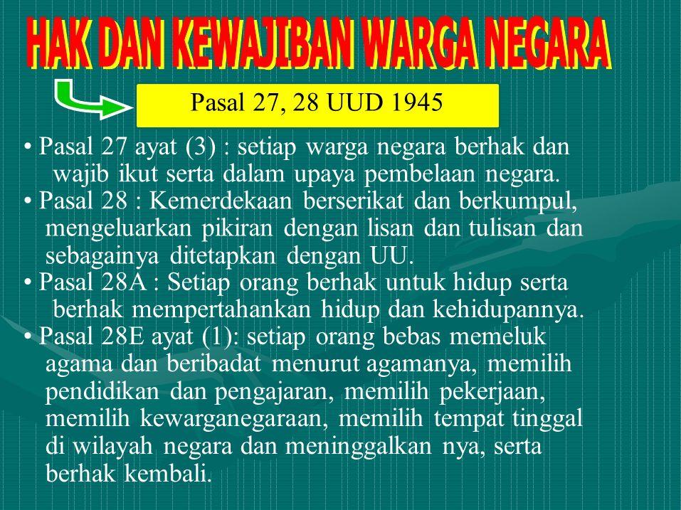 Pasal 27, 28 UUD 1945 • Pasal 27 ayat (3) : setiap warga negara berhak dan. wajib ikut serta dalam upaya pembelaan negara.