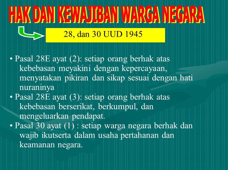 28, dan 30 UUD 1945 • Pasal 28E ayat (2): setiap orang berhak atas. kebebasan meyakini dengan kepercayaan,