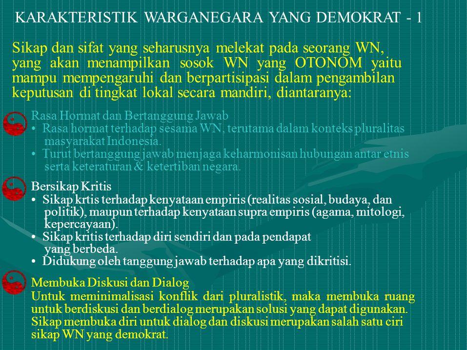 KARAKTERISTIK WARGANEGARA YANG DEMOKRAT - 1