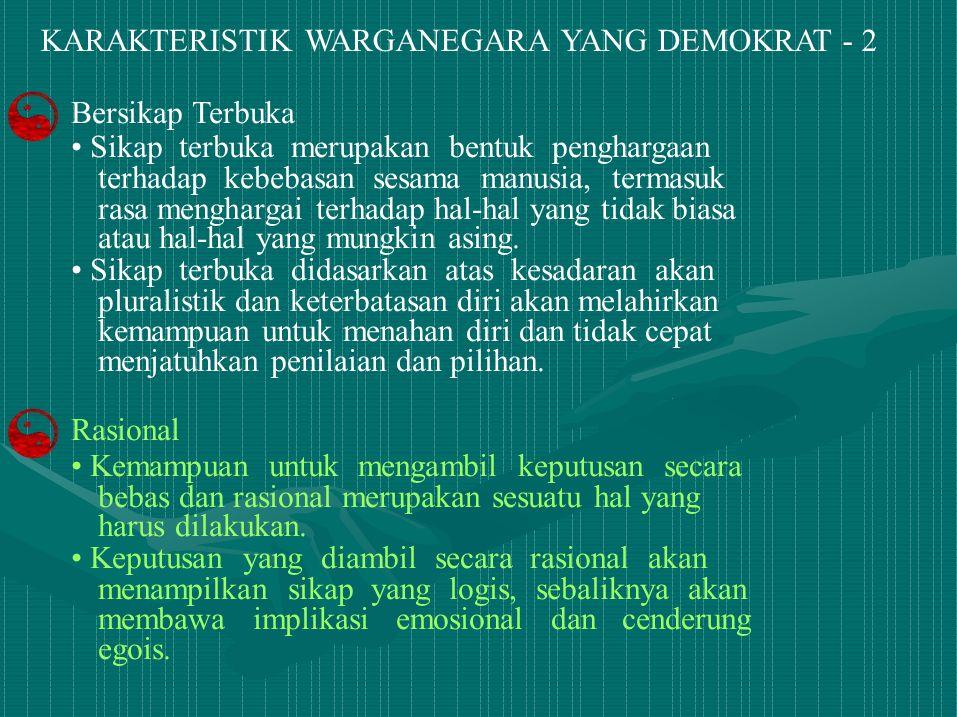 KARAKTERISTIK WARGANEGARA YANG DEMOKRAT - 2