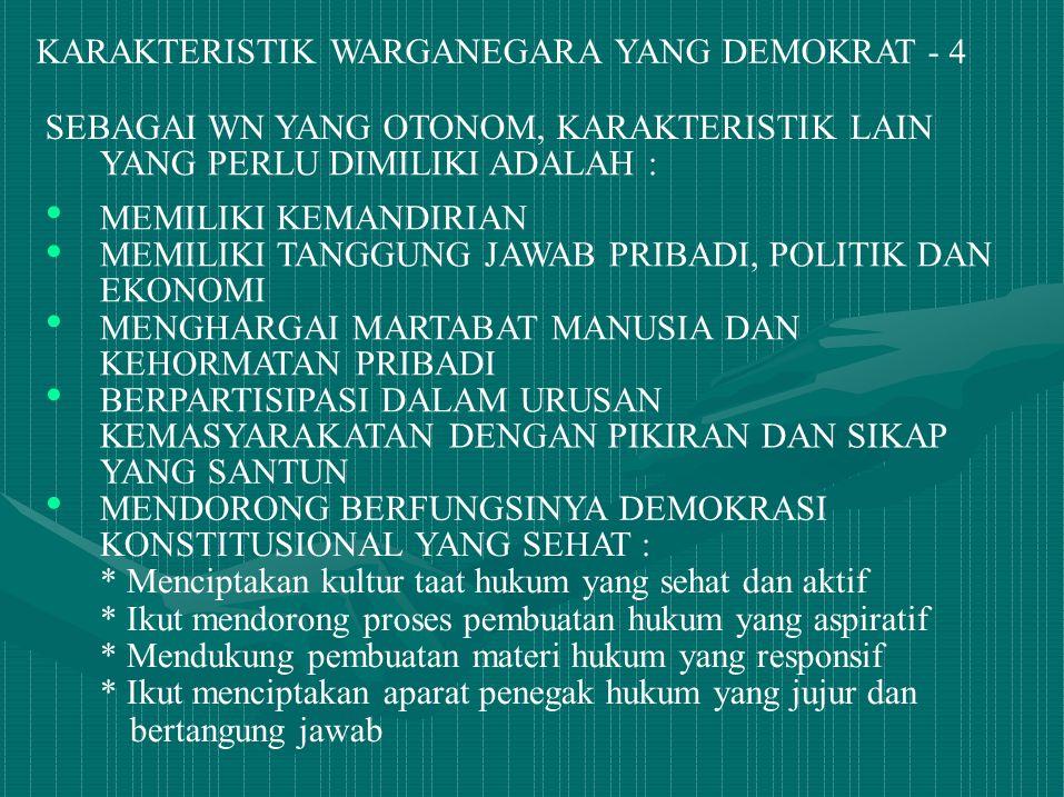 • • KARAKTERISTIK WARGANEGARA YANG DEMOKRAT - 4