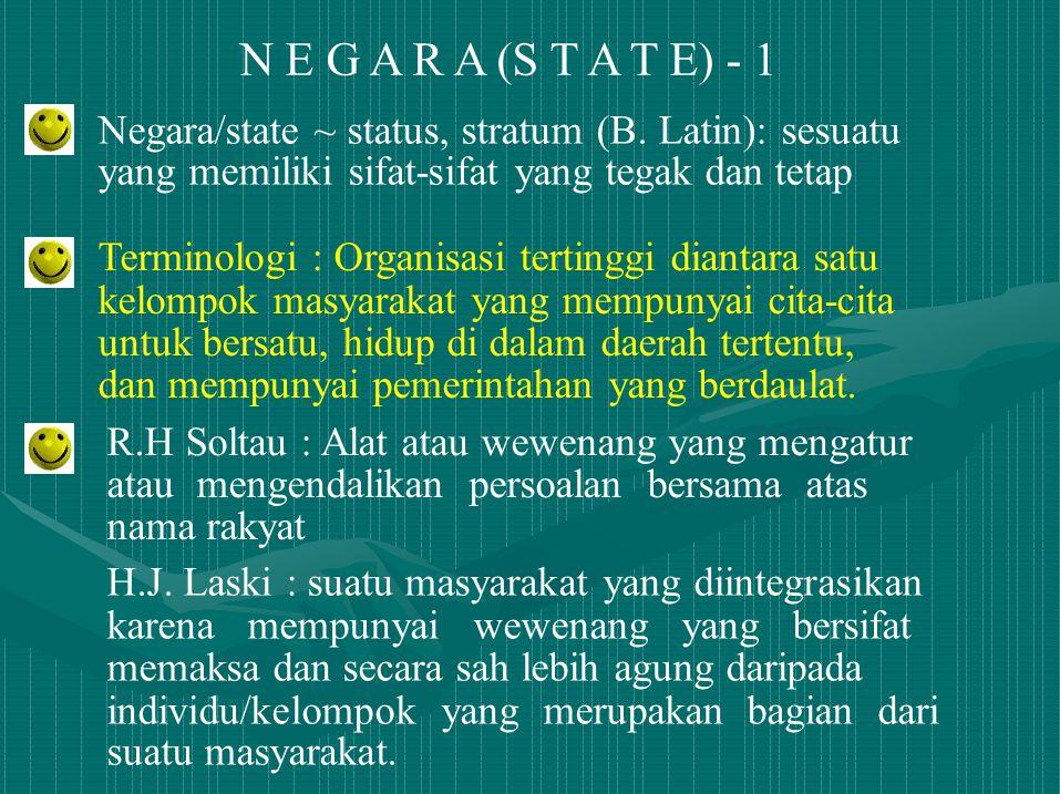 N E G A R A (S T A T E) - 1 Negara/state ~ status, stratum (B. Latin): sesuatu. yang memiliki sifat-sifat yang tegak dan tetap.