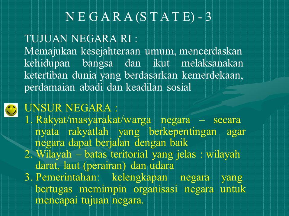 N E G A R A (S T A T E) - 3 TUJUAN NEGARA RI :