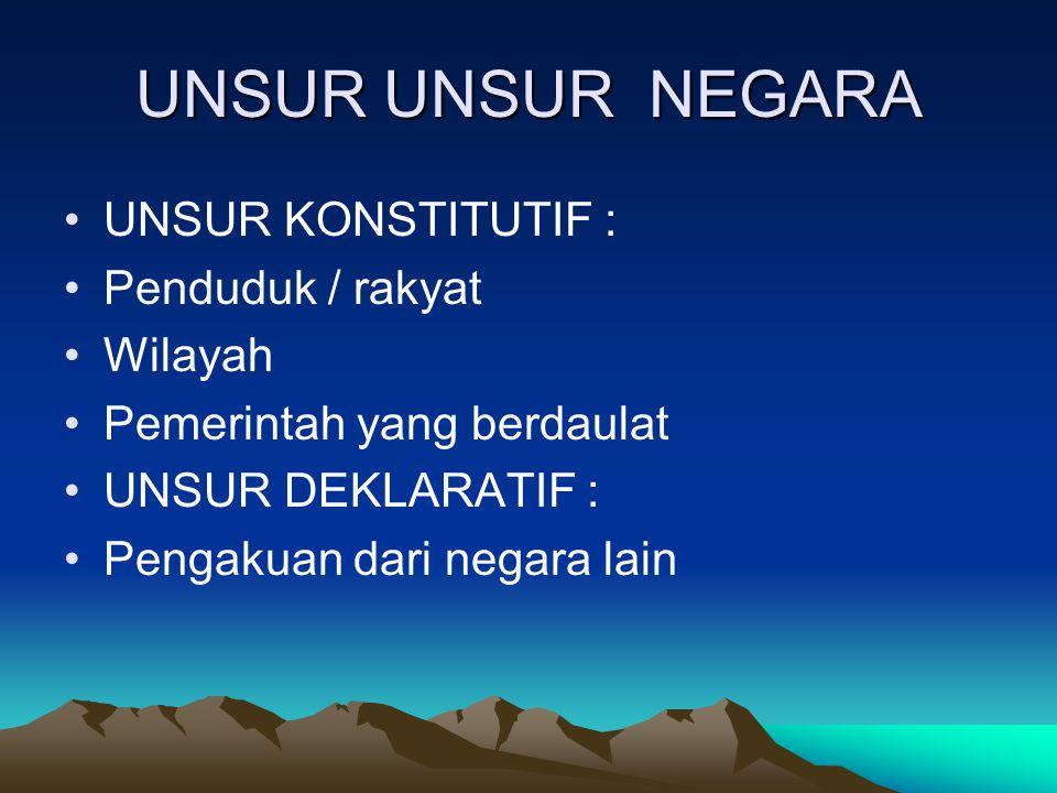 UNSUR UNSUR NEGARA UNSUR KONSTITUTIF : Penduduk / rakyat Wilayah