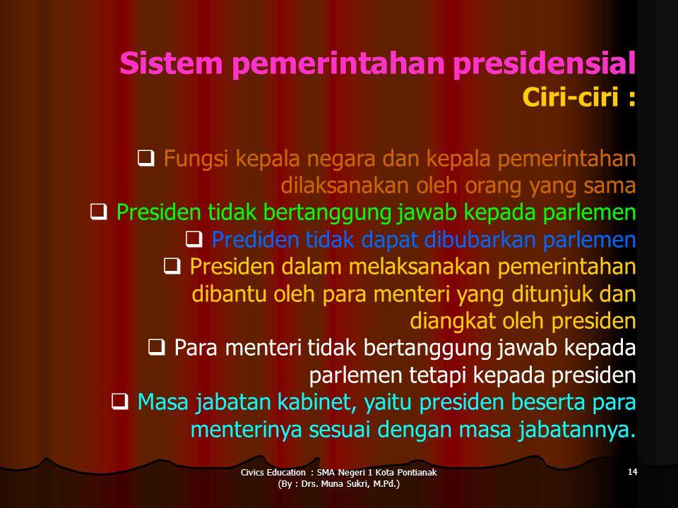 Ciri-ciri : Sistem pemerintahan presidensial