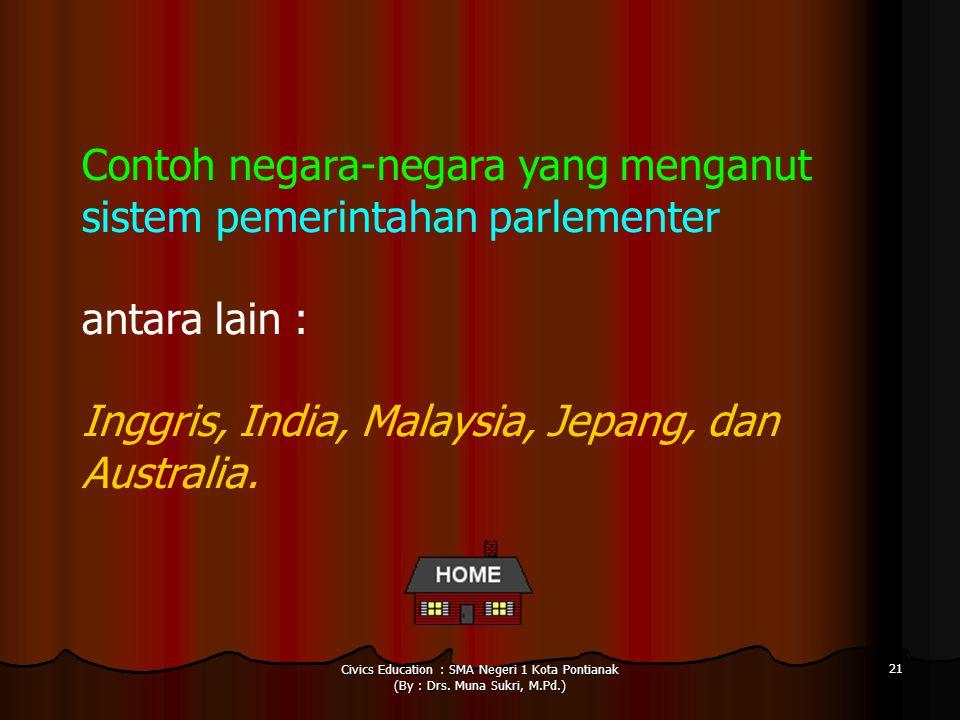 Contoh negara-negara yang menganut sistem pemerintahan parlementer