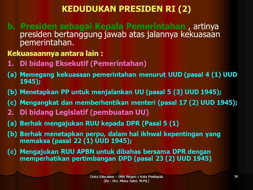 KEDUDUKAN PRESIDEN RI (2)
