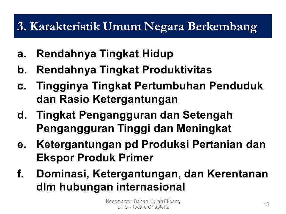 3. Karakteristik Umum Negara Berkembang