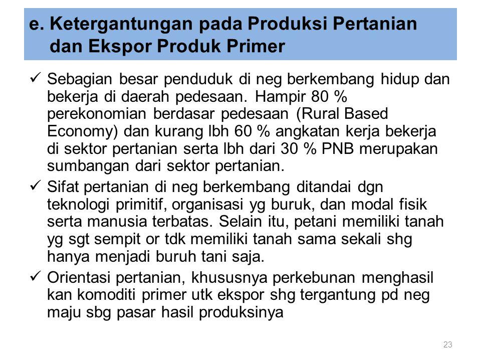e. Ketergantungan pada Produksi Pertanian dan Ekspor Produk Primer