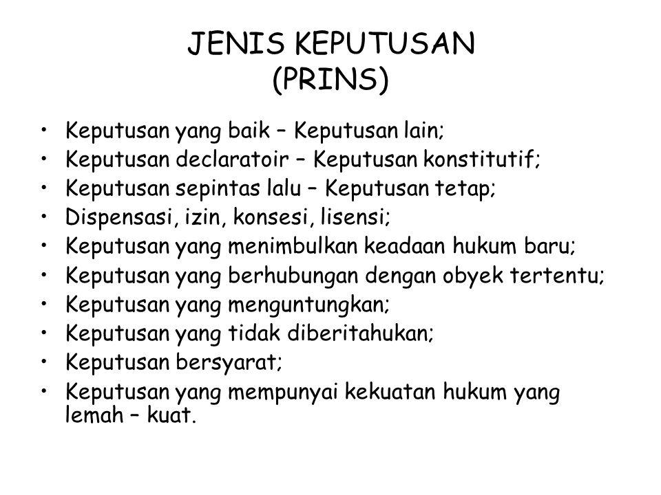 JENIS KEPUTUSAN (PRINS)