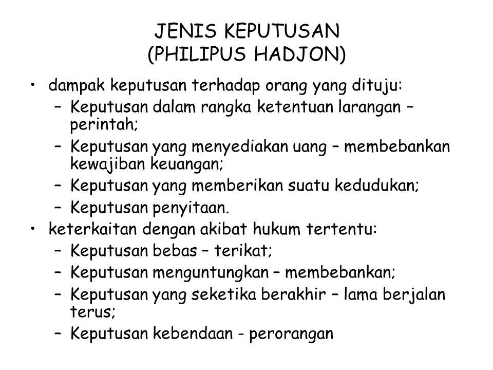 JENIS KEPUTUSAN (PHILIPUS HADJON)