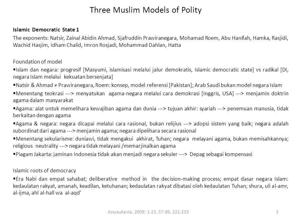 Three Muslim Models of Polity