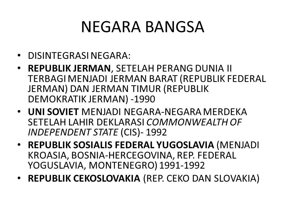 NEGARA BANGSA DISINTEGRASI NEGARA: