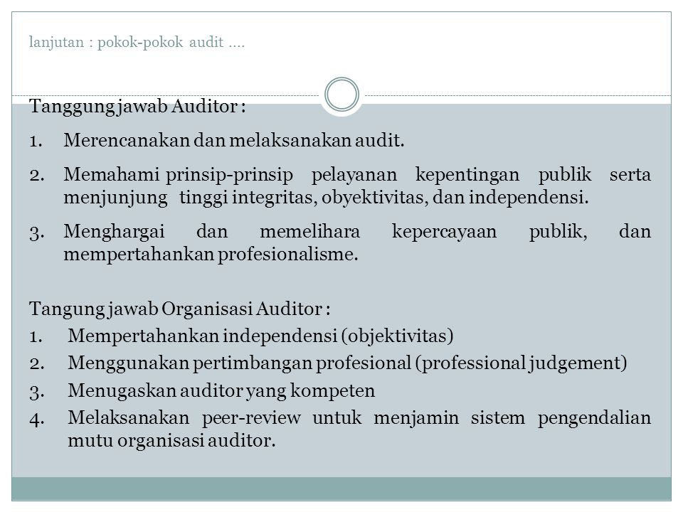 lanjutan : pokok-pokok audit ....