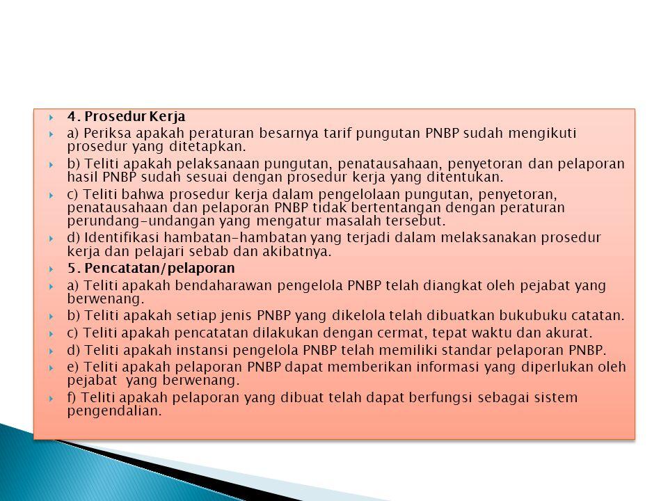 4. Prosedur Kerja a) Periksa apakah peraturan besarnya tarif pungutan PNBP sudah mengikuti prosedur yang ditetapkan.
