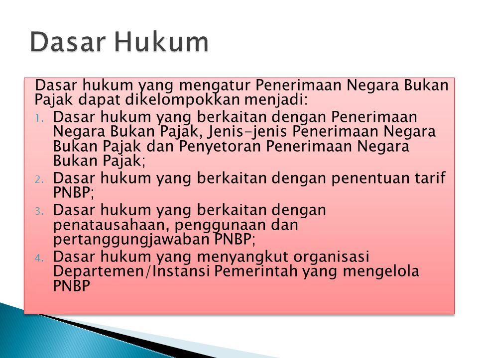 Dasar Hukum Dasar hukum yang mengatur Penerimaan Negara Bukan Pajak dapat dikelompokkan menjadi: