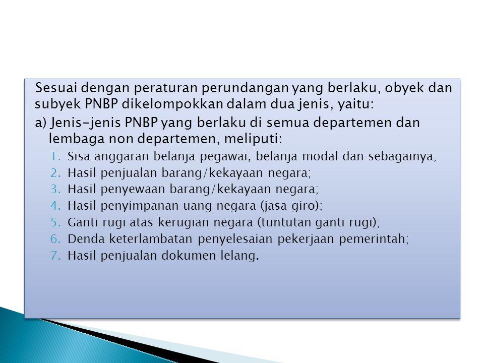 Sesuai dengan peraturan perundangan yang berlaku, obyek dan subyek PNBP dikelompokkan dalam dua jenis, yaitu: