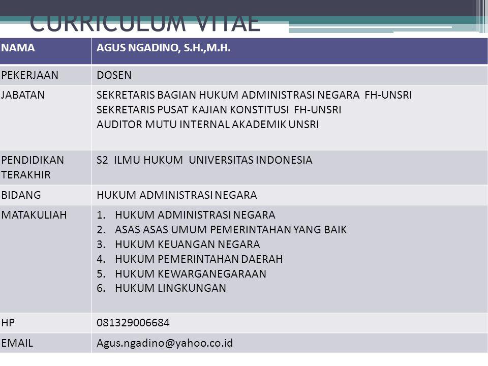 CURRICULUM VITAE NAMA AGUS NGADINO, S.H.,M.H. PEKERJAAN DOSEN JABATAN