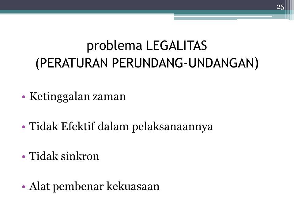 problema LEGALITAS (PERATURAN PERUNDANG-UNDANGAN)