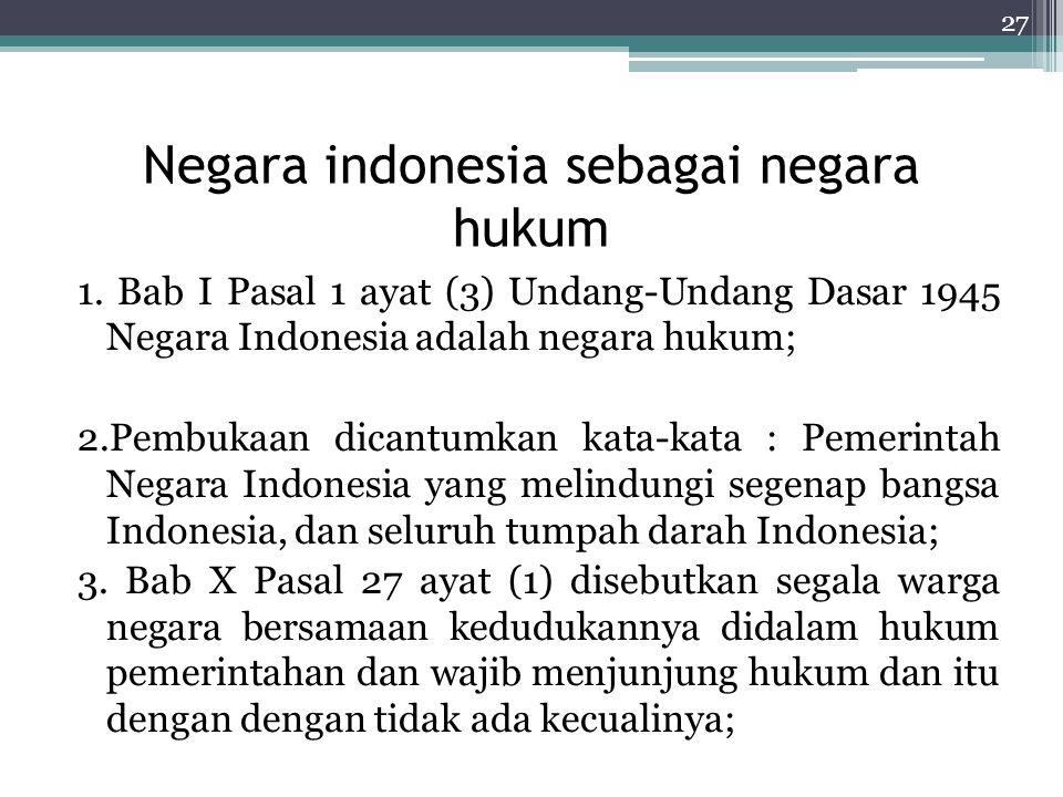 Negara indonesia sebagai negara hukum