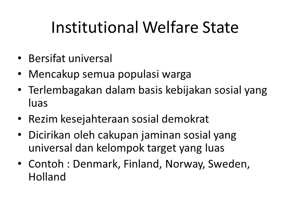 Institutional Welfare State