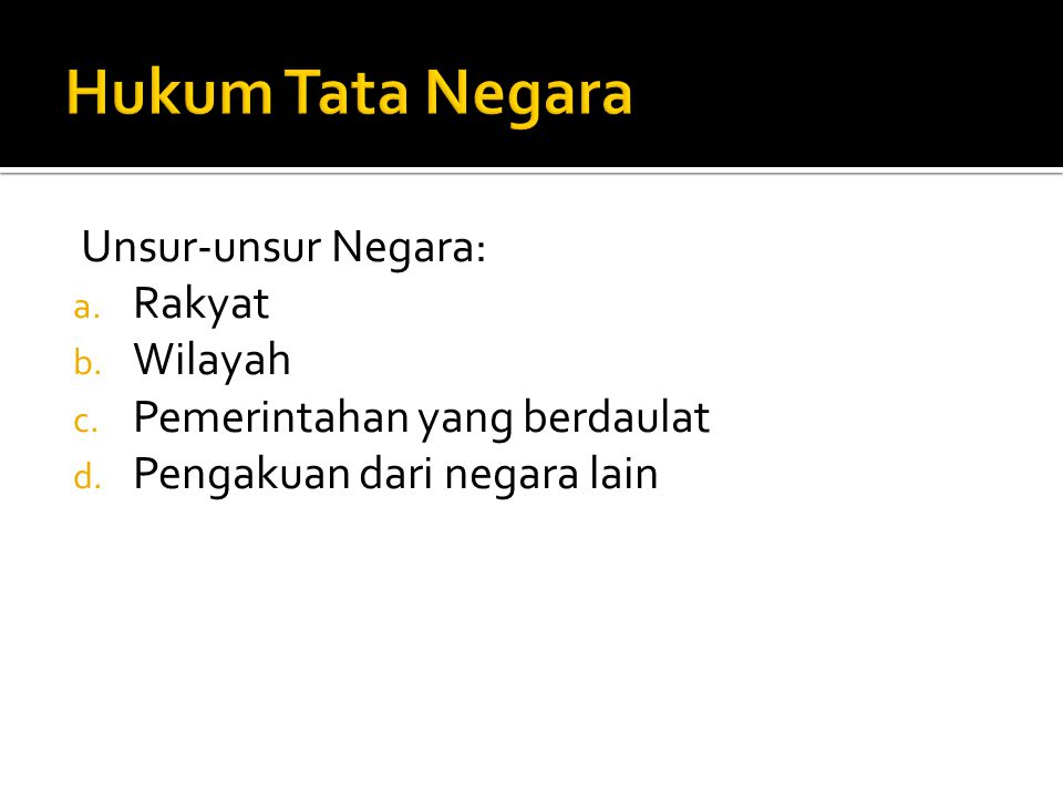 Hukum Tata Negara Unsur-unsur Negara: Rakyat Wilayah