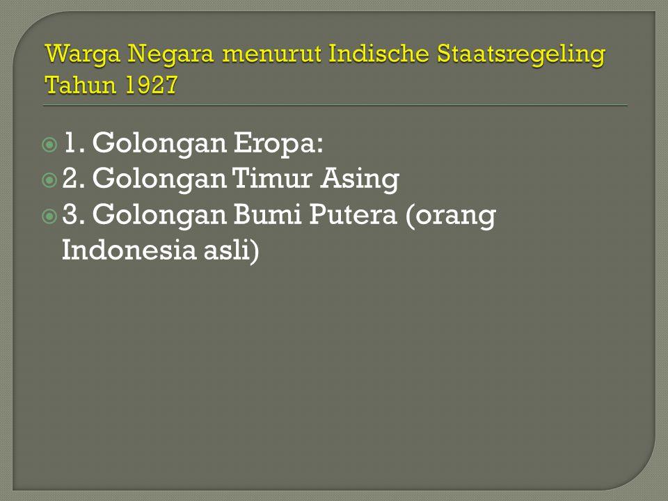 Warga Negara menurut Indische Staatsregeling Tahun 1927