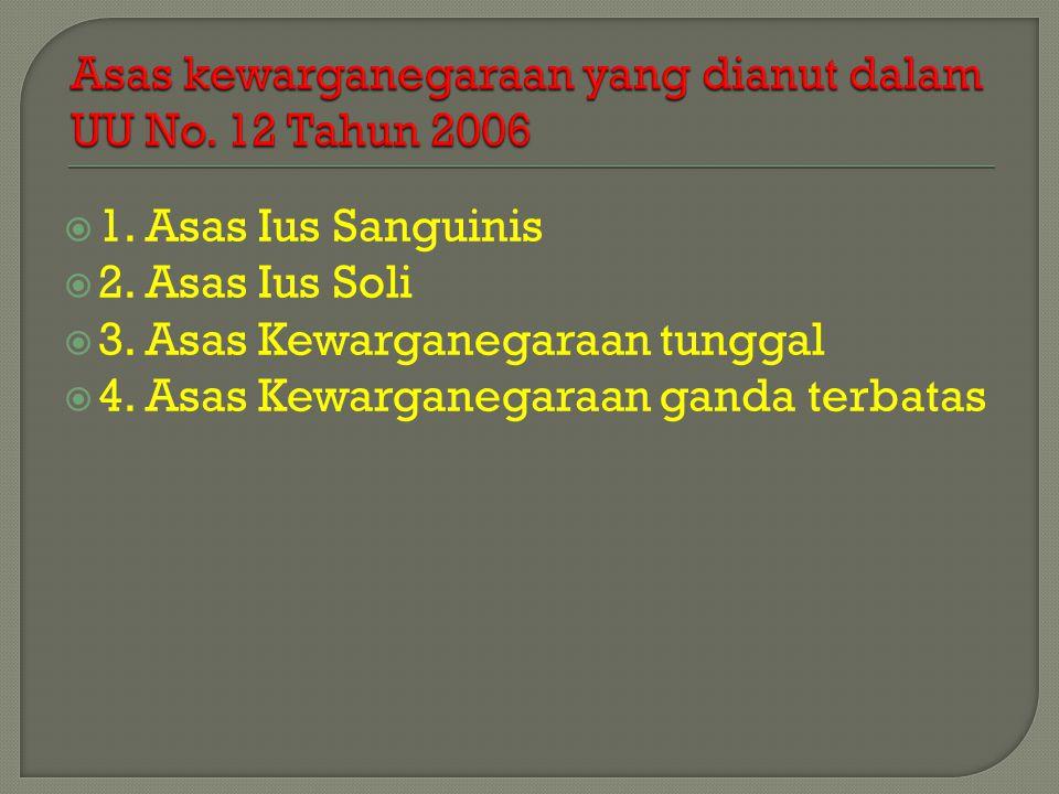 Asas kewarganegaraan yang dianut dalam UU No. 12 Tahun 2006