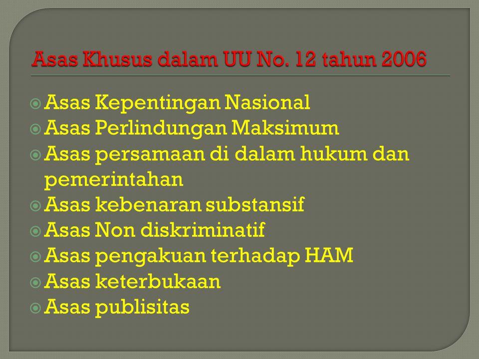 Asas Khusus dalam UU No. 12 tahun 2006