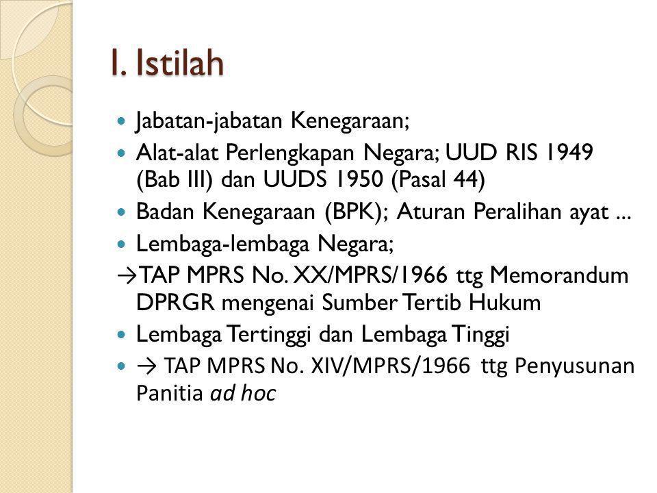 I. Istilah Jabatan-jabatan Kenegaraan;